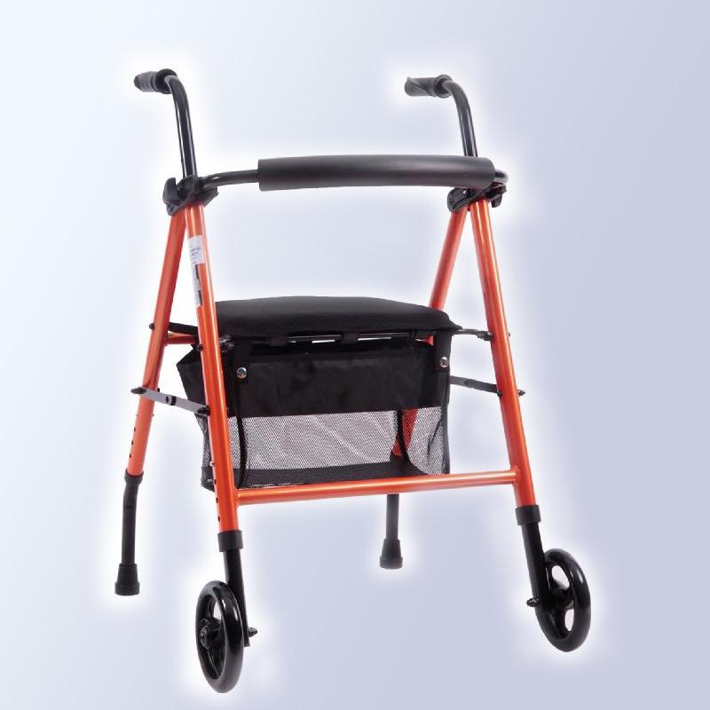 Andador con ruedas, asiento y canasto